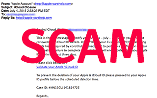 Scam email sample
