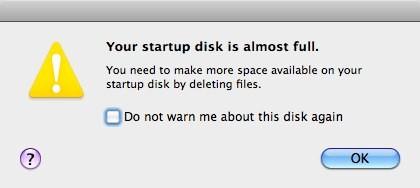 Apple Startup Disk Almost Full